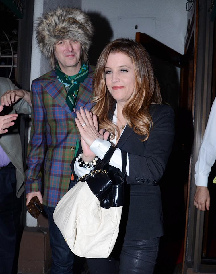 """<p class=""""MsoNormal"""">It's been a revolving door of celebrities at see-and-be-seen hot spot Madeo in Los Angeles this week. Among the diners were Lisa Marie Presley and her furry-headed hubby Michael Lockwood, who attended a 22nd birthday celebration on Tuesday for Presley's soon-to-be son-in-law Alex Pettyfer. The young actor recently became engaged to Presley's daughter, model Riley Keough, who was seen wearing her new engagement ring as she pulled up to the restaurant with her mom. (4/10/2012)</p><h2><br></h2>"""