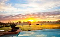 """<p>The Inn at Dos Brisas, a <a rel=""""nofollow noopener"""" href=""""http://www.dosbrisas.com/location"""" target=""""_blank"""" data-ylk=""""slk:nine-room retreat in the foothills of the Texas Hill Country"""" class=""""link rapid-noclick-resp"""">nine-room retreat in the foothills of the Texas Hill Country</a>, offers lots of outdoor activities for relaxation and exercise. It sits on 313 acres of tranquil meadows that guests can explore. They can also join in planned activities, including horseback riding, carriage rides, clay target shooting, fishing, hunting, tennis, golf, star gazing, bike riding, trail running, indoor yoga and private plunge pools for swimming.</p>"""