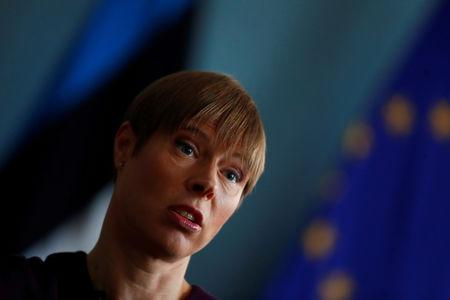FILE PHOTO: Estonian President Kersti Kaljulaid speaks during an interview in Tallinn