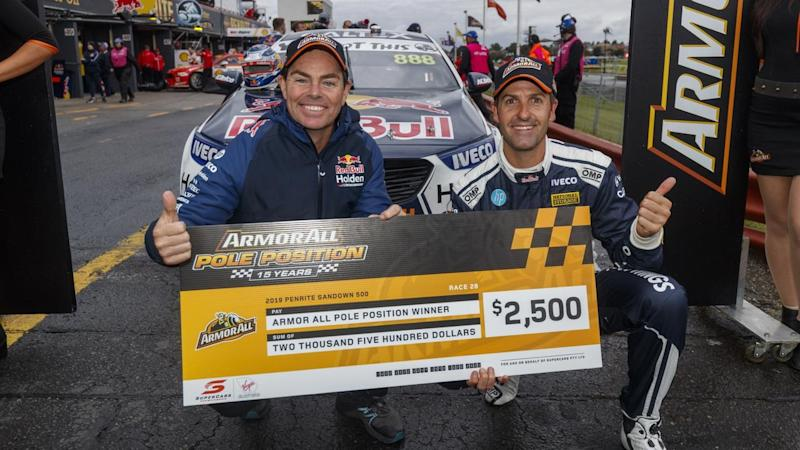 Craig Lowndes (L) has helped Holden's Jamie Whincup (R) to win pole position for the Sandown 500