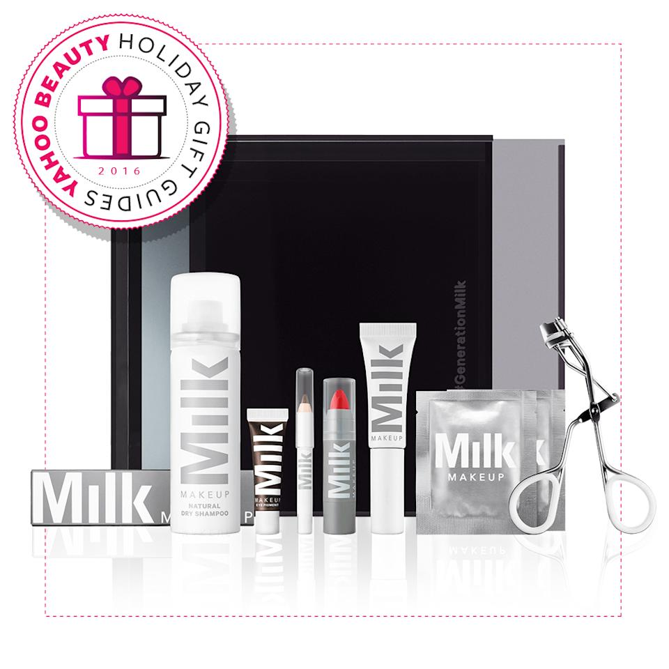 """<p>The gift of the perfect office-to-holiday party transition kit is priceless. <a rel=""""nofollow"""" href=""""https://milkmakeup.com/products/limited-edition-desk-to-dawn/"""">Milk Makeup Desk 'Til Dawn Set</a>, $68. (Photo: Milk Makeup) </p>"""