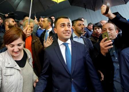 FILE PHOTO: Italian Deputy Prime Minister and 5-Star Movement leader Luigi Di Maio leaves after casting his vote in the European election
