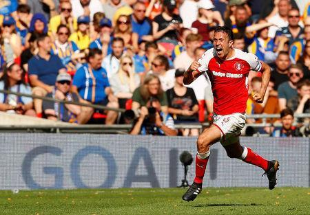 Soccer Football - League One Play-Off Final - Rotherham United v Shrewsbury Town - Wembley Stadium, London, Britain - May 27, 2018 Rotherham's Richard Wood celebrates scoring their second goal Action Images/Jason Cairnduff