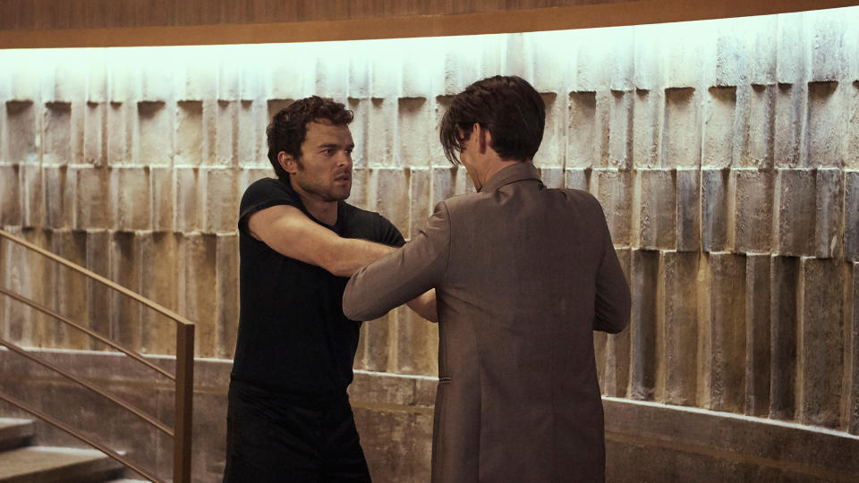 Alden Ehrenreich and Harry Lloyd in 'Brave New World'. (Credit: Sky/Peacock)