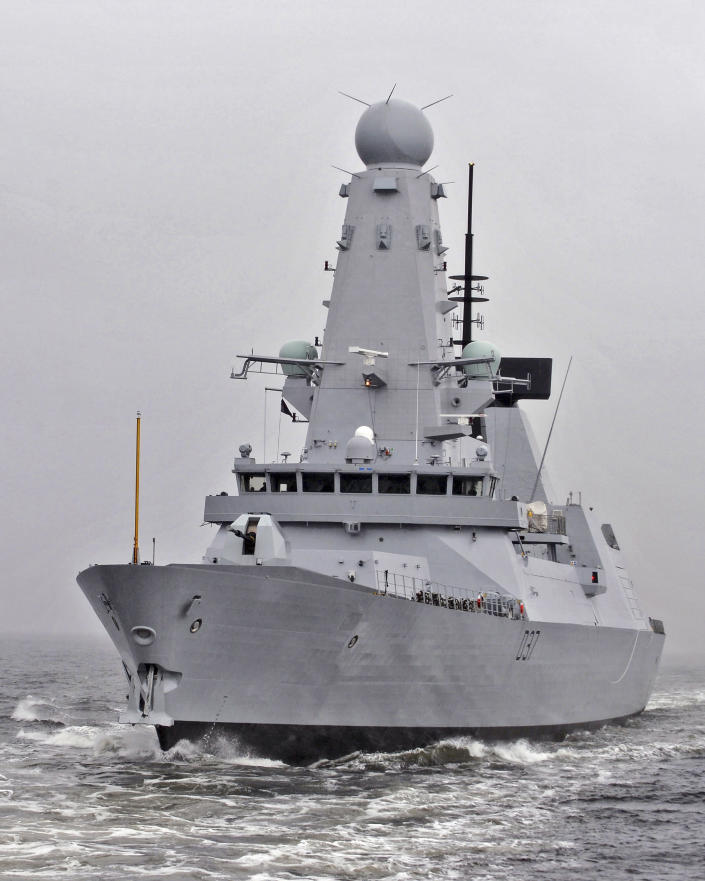 """This undated Ministry of Defence handout shows the HMS Duncan, a Type 45 Destroyer, which will relieve HMS Montrose in the region as Iran threatens to disrupt shipping. Iran on Friday, July 12, 2019 demanded the British navy release an Iranian oil tanker seized last week off Gibraltar, accusing London of playing a """"dangerous game"""" and threatening retribution. British media reported a second warship, the destroyer HMS Duncan, was being sent to the Persian Gulf to operate alongside the Royal Navi's HMS Montrose frigate and American forces, and would be there in a few days. The British Ministry of Defense refused to comment. (Stu Hill/Ministry of Defence via AP)"""