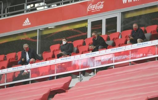 Franz Beckenbauer, seated in the middle of the first row, watched Bayern's win over Eintracht Frankfurt