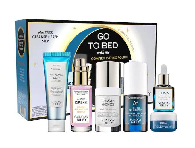 """Get this <a href=""""https://fave.co/3jDW58M"""" target=""""_blank"""" rel=""""noopener noreferrer"""">Sunday Riley Go To Bed With Me Complete Anti-Aging Night Routine on sale</a> (normally $93) during Sephora's Holiday Savings Eventwith code<strong>HOLIDAYFUN</strong>at checkout."""