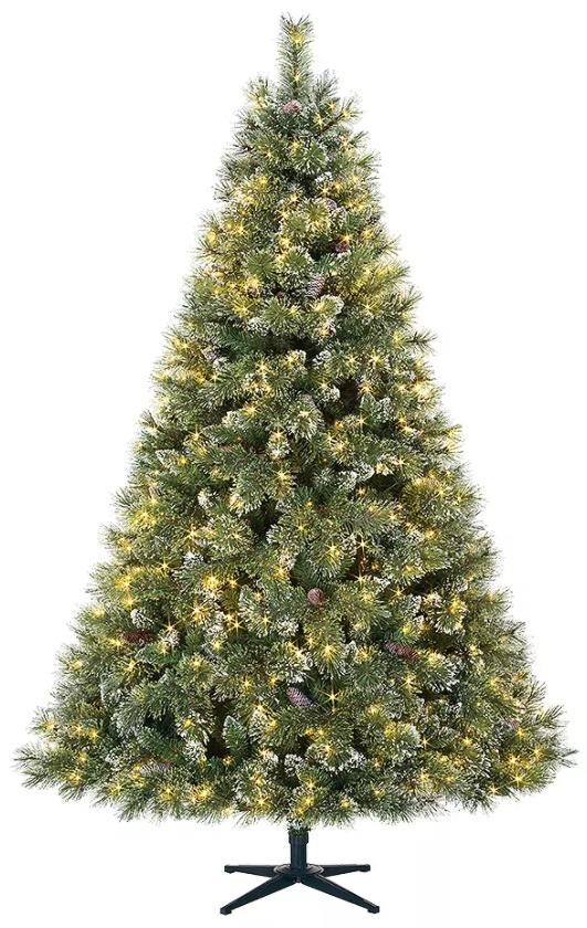 Home Accents Holiday 7.5 ft. Sparkling Pine Quick-Set Pre-Lit Tree. (Image via The Home Depot)