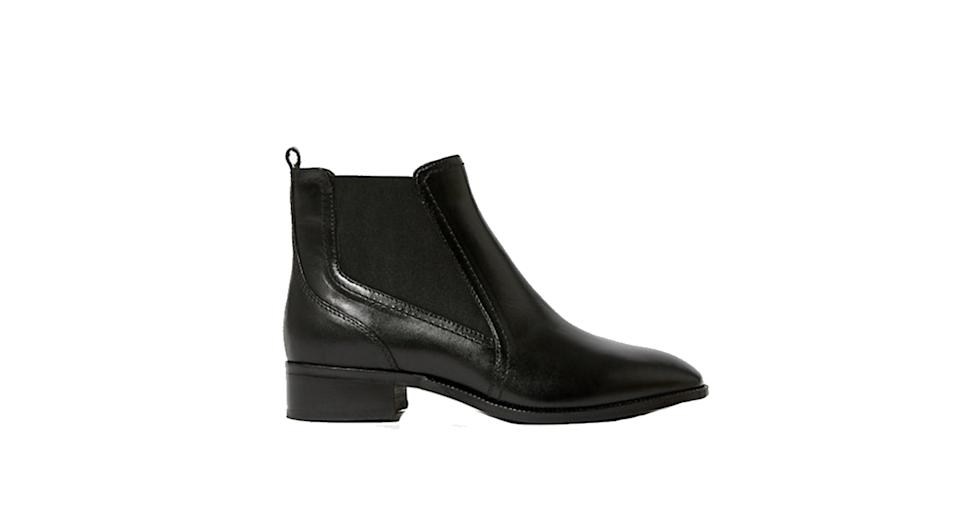 Leather Chelsea Block Heel Ankle Boots