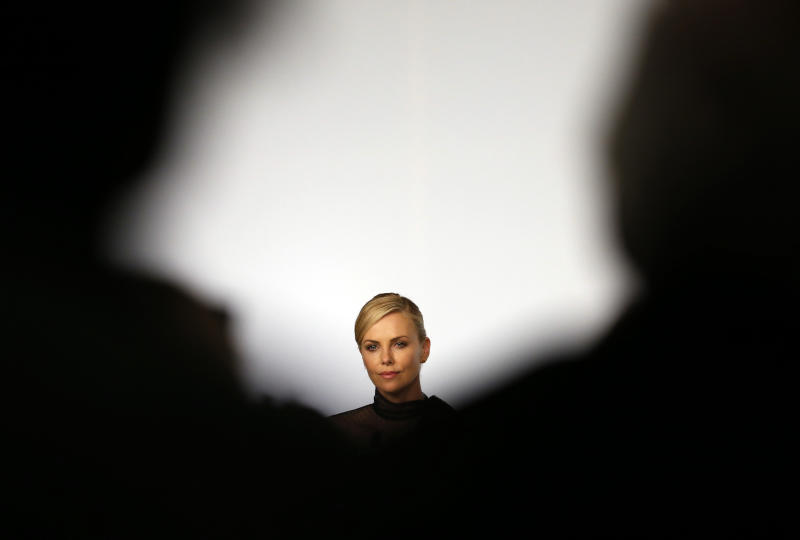 """Cast member Charlize Theron attends a news conference for the film """"Mad Max: Fury Road"""" out of competition at the 68th Cannes Film Festival in Cannes, southern France, May 14, 2015. REUTERS/Eric Gaillard TPX IMAGES OF THE DAY"""