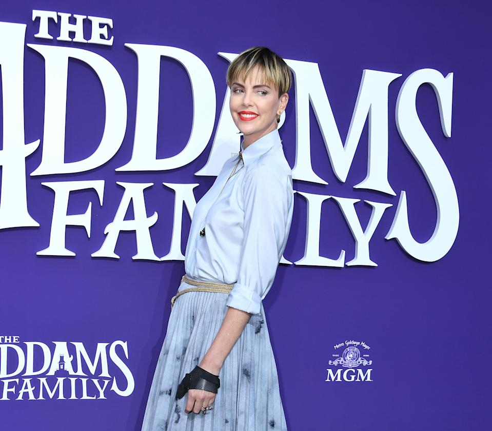 """LOS ANGELES, CALIFORNIA - OCTOBER 06: Charlize Theron arrives at the Premiere Of MGM's """"The Addams Family""""  at Westfield Century City AMC on October 06, 2019 in Los Angeles, California. (Photo by Steve Granitz/WireImage)"""