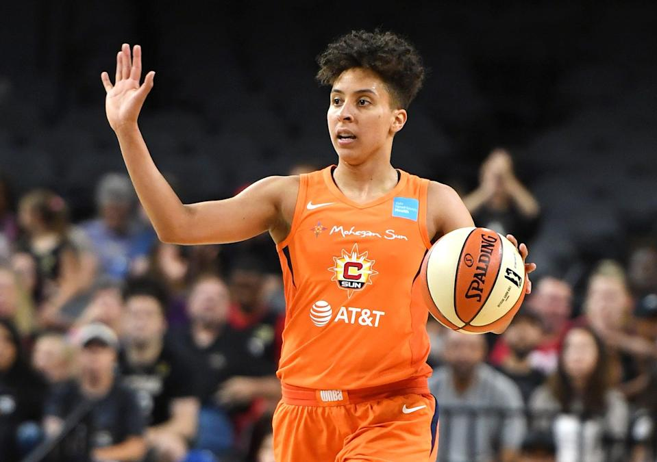"""<p>Layshia Clarendon was the ninth overall pick in the 2013 WNBA draft and has since become an All-Star, a world champion, and the vice president of the WNBA Players' Association. They are currently a free agent point guard (reportedly set to be <a href=""""https://www.espn.com/wnba/story/_/id/31516959/minnesota-lynx-signing-veteran-guard-layshia-clarendon-per-reports"""" class=""""link rapid-noclick-resp"""" rel=""""nofollow noopener"""" target=""""_blank"""" data-ylk=""""slk:signed by the Minnesota Lynx"""">signed by the Minnesota Lynx</a>) and an <a href=""""https://www.athletesforhope.org/2019/06/layshia-clarendon-shares-what-pride-month-means-to-her/"""" class=""""link rapid-noclick-resp"""" rel=""""nofollow noopener"""" target=""""_blank"""" data-ylk=""""slk:advocate for intersectional social justice"""">advocate for intersectional social justice</a>.</p> <p>""""So many of us have had to overcome being told to hide who we are by people we loved and respected,"""" she told <strong>Athletes For Hope</strong> in 2019, noting that LGBTQ+ people are at risk for """"violence, harassment, and bullying. It's still difficult to navigate workplaces, religious spaces, and to find community."""" As queer, nonbinary Black person, Clarendon knows firsthand the why activists must prioritize intersectionality. """"If we want to be activists, social justice oriented, good allies or even just good people, we MUST make sure we approach the work through an intersectional lens,"""" he said. """"It's why we have to show up for each other and especially for the folks who live on the margins of society.""""</p>"""