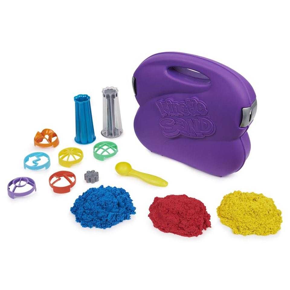 """<p><strong>Kinetic Sand</strong></p><p>walmart.com</p><p><strong>$19.82</strong></p><p><a href=""""https://go.redirectingat.com?id=74968X1596630&url=https%3A%2F%2Fwww.walmart.com%2Fip%2F103334186&sref=https%3A%2F%2Fwww.bestproducts.com%2Fparenting%2Fg34074265%2Fwalmart-top-toys-of-2020%2F"""" rel=""""nofollow noopener"""" target=""""_blank"""" data-ylk=""""slk:Shop Now"""" class=""""link rapid-noclick-resp"""">Shop Now</a></p><p>To be honest, even adults like to shove their hands into a container of satisfyingly gritty kinetic sand. This playset is the ultimate kinetic sand set that includes three colors and 10 different tools. Your kiddo will be able to craft cool shapes and designs for hours. </p>"""