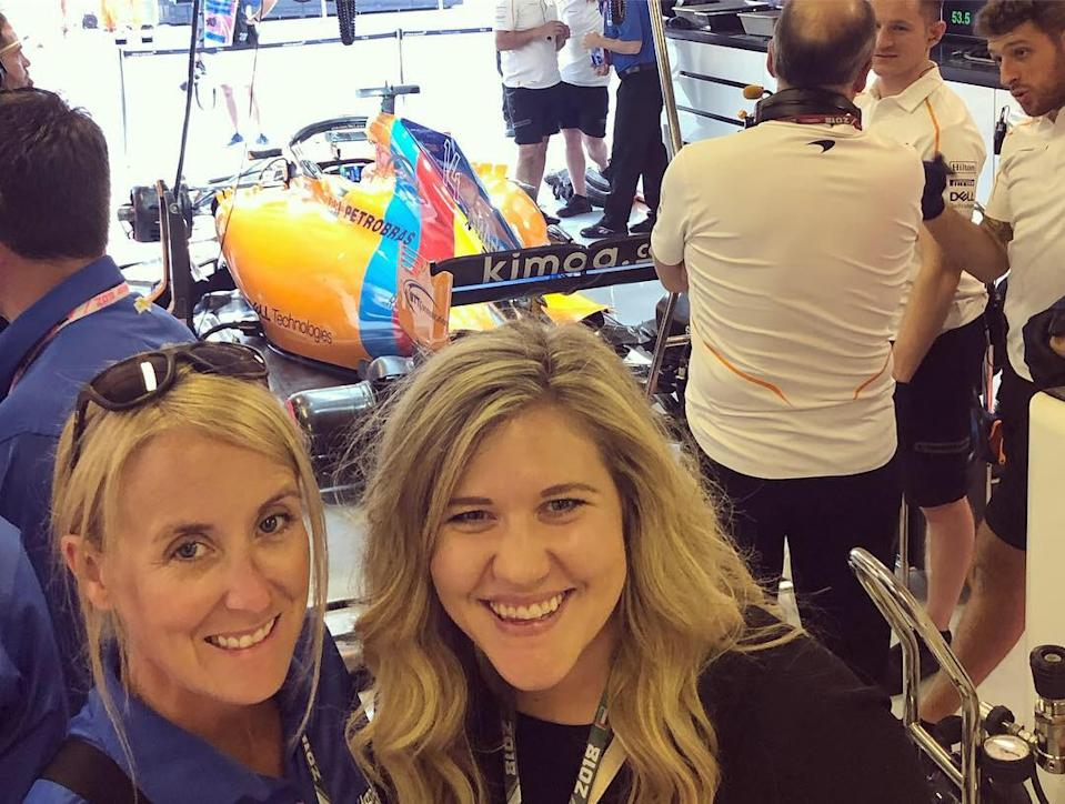 <em>Lauren Edwards (right) with Amy Stock Walsh, longtime publicist for Jimmie Johnson, in November 2018 at the Abu Dhabi Grand Prix, where Johnson tested Fernando Alonso's McLaren (Lauren Edwards).</em>