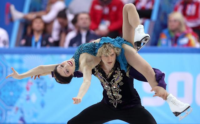 SOCHI, RUSSIA - FEBRUARY 09: Meryl Davis and Charlie White of the United States compete in the Team Ice Dance Free Dance during day two of the Sochi 2014 Winter Olympics at Iceberg Skating Palace onon February 9, 2014 in Sochi, Russia. (Photo by Matthew Stockman/Getty Images)