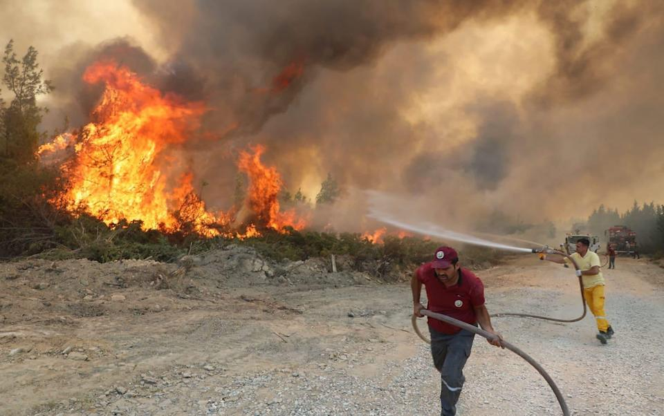 Villages and some hotels have been evacuated in tourist areas - Zuma Press / eyevine