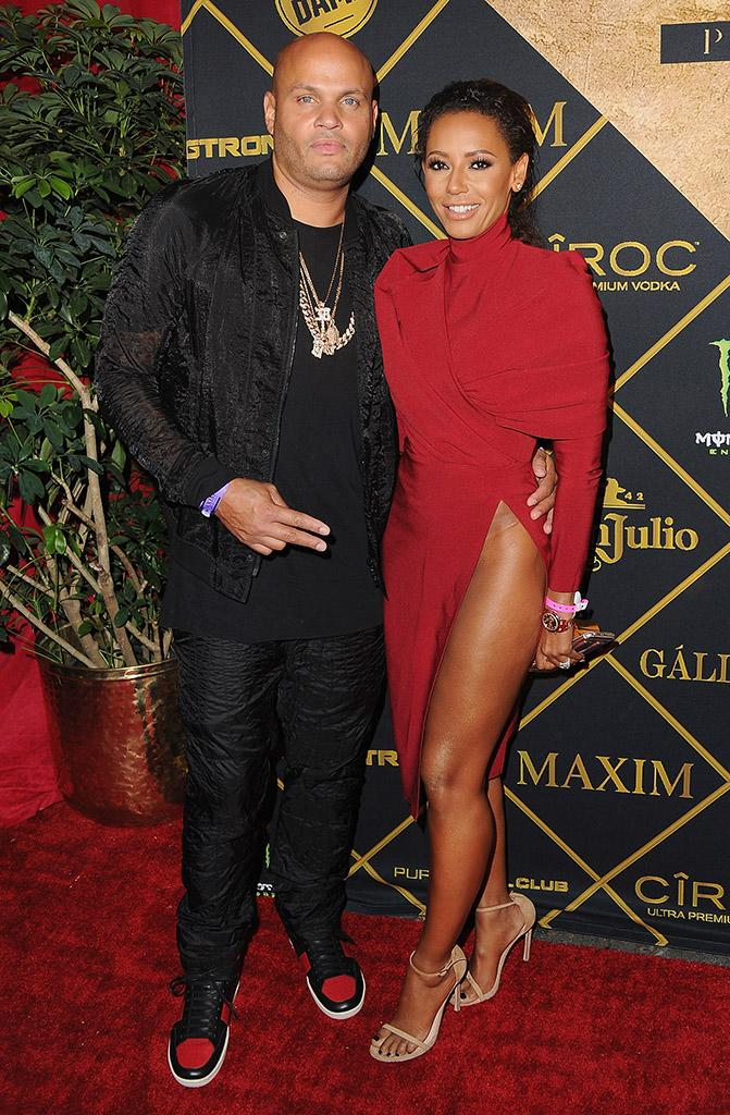 Melanie Brown and husband Stephen Belafonte arrive at the Maxim Hot 100 Party at the Hollywood Palladium on July 30, 2016 in Los Angeles, California.