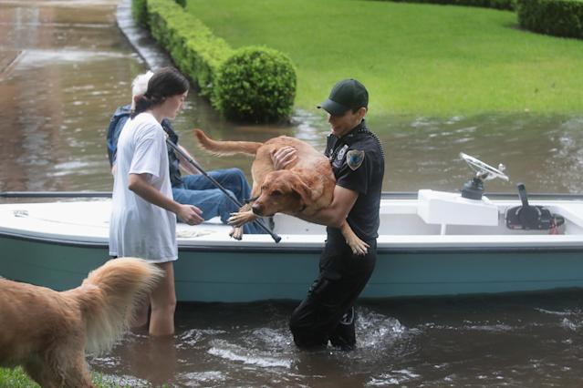 <p>Volunteers and officers from the neiborhood security patrol help to rescue residents and their dogs in the upscale River Oaks neighborhood after it was inundated with flooding from Hurricane Harvey on Aug. 27, 2017 in Houston, Texas. (Photo: Scott Olson/Getty Images) </p>