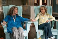 """<p>Icons Jane Fonda and Lily Tomlin play two women who form an unlikely friendship after their husbands (played by Martin Sheen and Sam Waterston) leave them for each other. </p> <p><a href=""""https://www.netflix.com/title/80017537"""" rel=""""nofollow noopener"""" target=""""_blank"""" data-ylk=""""slk:Available to stream on Netflix"""" class=""""link rapid-noclick-resp""""><em>Available to stream on Netflix</em></a></p>"""