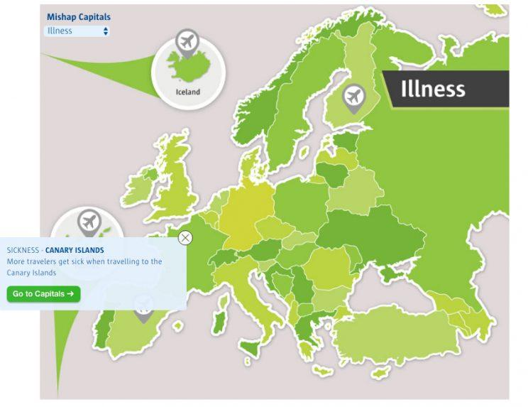 Countries where you are more likely to fall ill (Source: comparethemarket.com)