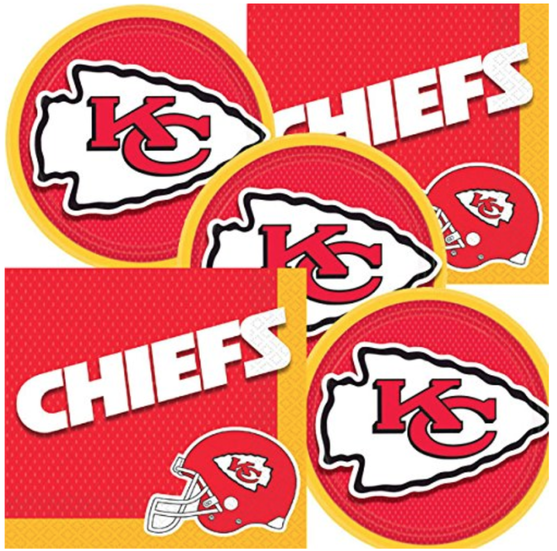 Chiefs NFL Team Logo Plates And Napkins Set