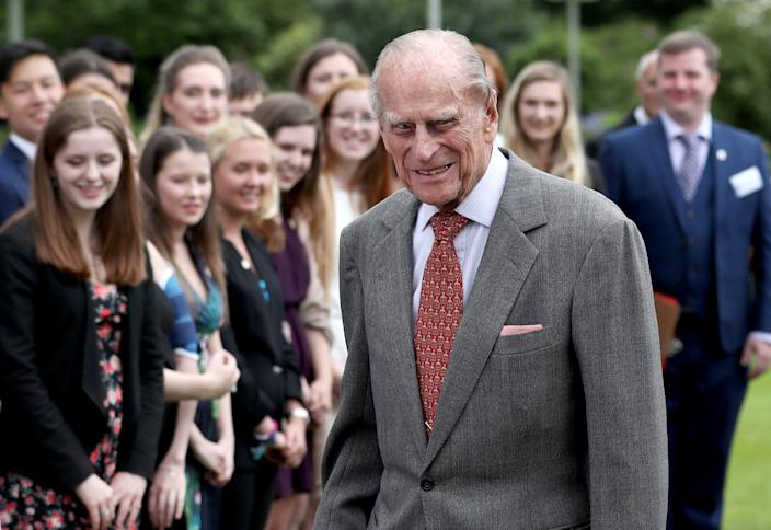 EDINBURGH, SCOTLAND - JULY 06: The Duke of Edinburgh attends the Presentation Reception for The Duke of Edinburgh Gold Award holders in the gardens at the Palace of Holyroodhouse on July 6, 2017 in Edinburgh, Scotland. (Photo by Jane Barlow - WPA Pool/Getty Images)