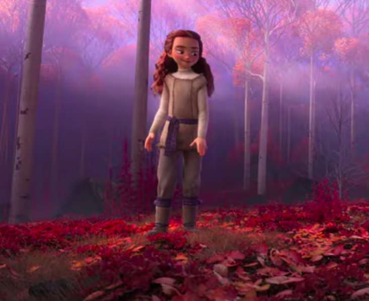 A screen capture of a new redheaded character from the <em>Frozen 2</em> trailer (Disney)