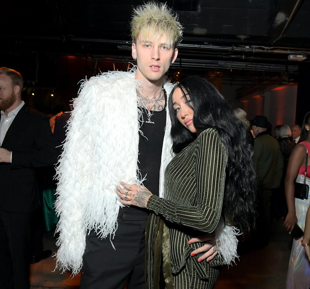 """<p>The duo sparked dating rumors in January when they were spotted cozying up to each other at <a href=""""https://www.popsugar.com/celebrity/celebrities-at-2020-grammys-afterparties-pictures-47151543"""" class=""""ga-track"""" data-ga-category=""""Related"""" data-ga-label=""""https://www.popsugar.com/celebrity/celebrities-at-2020-grammys-afterparties-pictures-47151543"""" data-ga-action=""""In-Line Links"""">a Grammys afterparty</a>. """"They are holding hands and posing for photos together,"""" a source confirmed to <strong>E! News</strong>. """"They held hands as they arrived back inside the party and continued to be next to each other the entire time. It seemed like they were dating."""" </p> <p>Machine Gun Kelly also helped Noah ring in her 20th birthday earlier in the month and posted <a href=""""https://www.instagram.com/p/B7KnQ4SJbJh/"""" target=""""_blank"""" class=""""ga-track"""" data-ga-category=""""Related"""" data-ga-label=""""https://www.instagram.com/p/B7KnQ4SJbJh/"""" data-ga-action=""""In-Line Links"""">an Instagram photo of the two hugging</a>. """"Bday girl @noahcyrus 🔪🤘🏼,"""" he captioned it.</p>"""