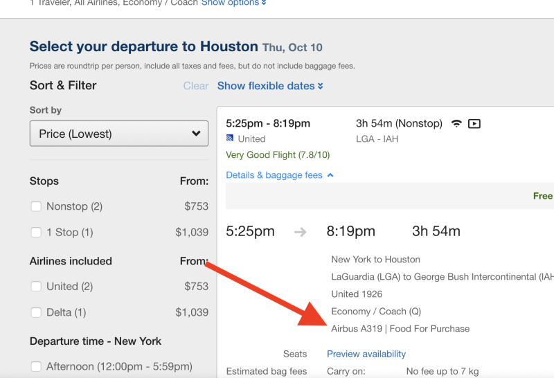 Expedia shows the plane when you select a flight. (Screenshot via Yahoo Finance)