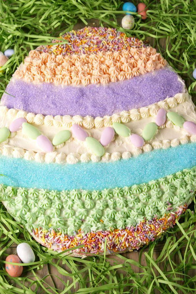 "<p>Cookie cakes are notoriously underrated, and if you're having guests over for Easter, it's a great time to try one out, since they're good for feeding bigger groups of people. Decorate in pastel colors with your favorite mini Easter candies for a little extra flourish. </p><p><strong><em>Get the recipe at <a href=""https://www.delish.com/cooking/recipe-ideas/recipes/a52276/giant-easter-egg-cookie-recipe/"" rel=""nofollow noopener"" target=""_blank"" data-ylk=""slk:Delish"" class=""link rapid-noclick-resp"">Delish</a>.</em></strong></p>"