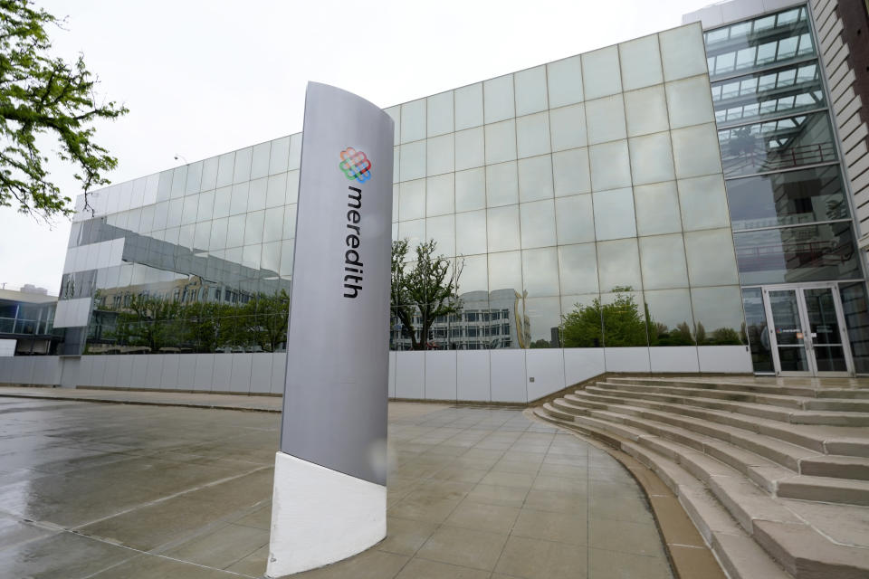 The headquarters of Meredith Corp. is shown, Monday, May 3, 2021, in Des Moines, Iowa. On Monday, the company said it will sell its Local Media Group consisting of 16 television stations to Gray Television Inc. for $2.7 billion in cash and focus on expanding its print and digital magazines business. (AP Photo/Charlie Neibergall)