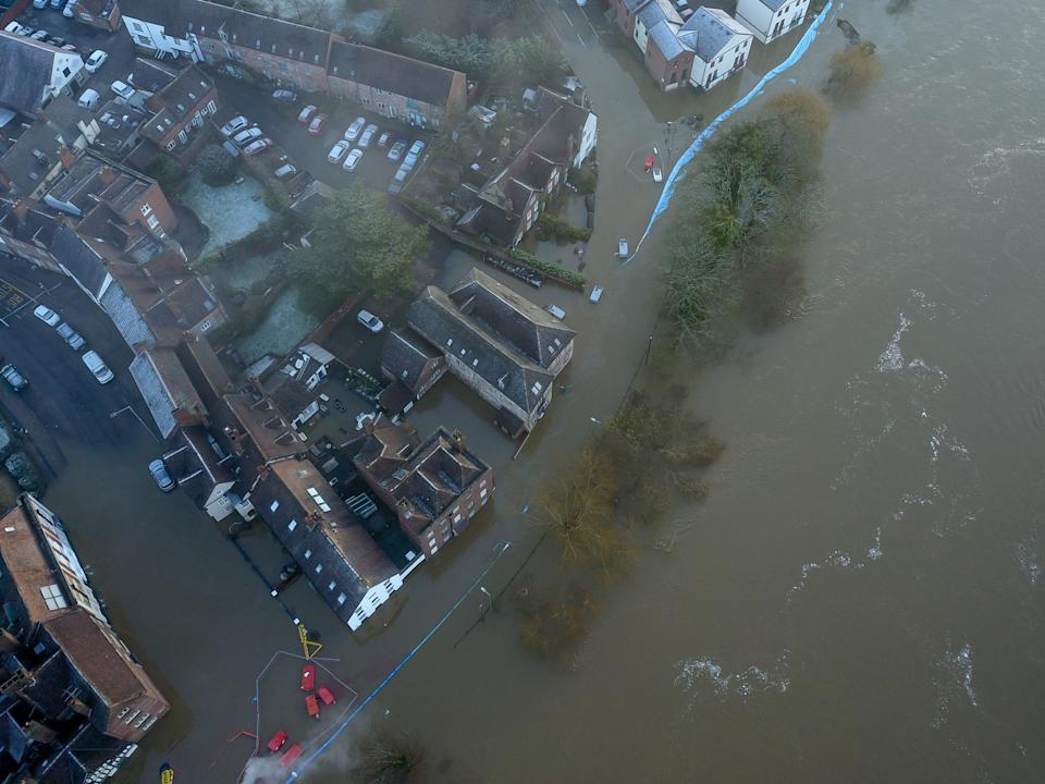 Aerial view of flooding along the river Severn at Bewdley where despite the efforts by the environment agency, one side of the flood defences have been overtopped as storm Christoph continues to wreak havoc, 23 Jan 2021.