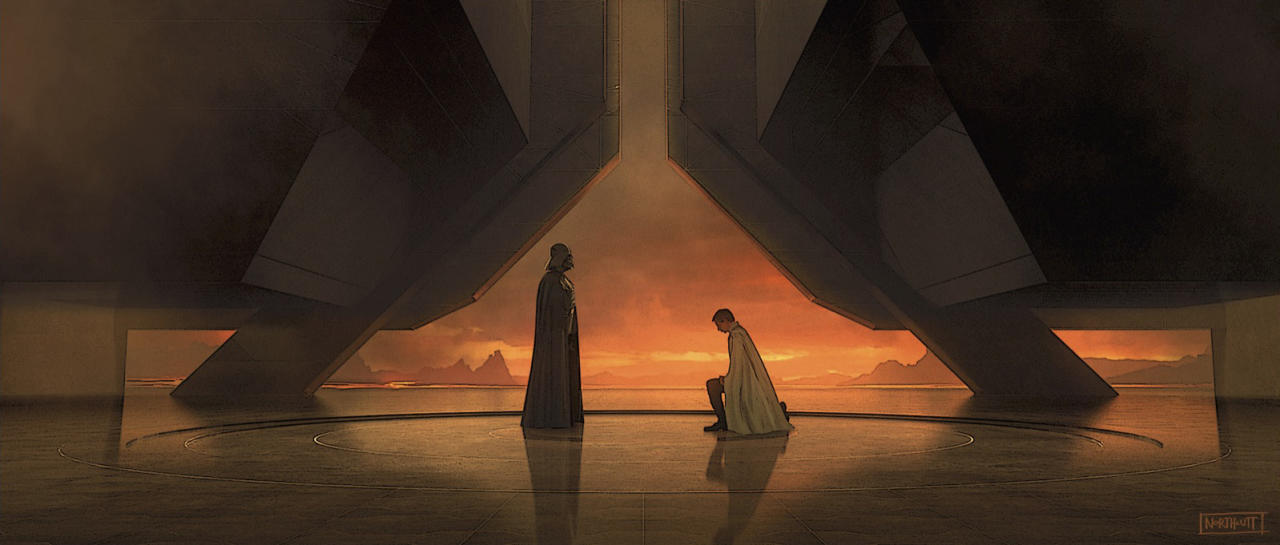 """<p>Kushins: """"Even though Mustafar had been seen in <i>Revenge of the Sith</i>, Ralph McQuarrie's original concept of the lava planet as Vader's private lair isn't something that had ever really been explored on screen. The concepts for <i>Rogue One</i> built on McQuarrie's designs, expanding and adapting them for Vader's place in this story."""" </p>"""