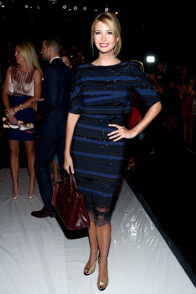 Ivanka Trump in a blue and black striped dress in September 2012. (Photo: Getty Images)