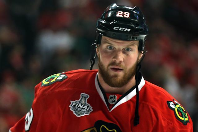 CHICAGO, IL - JUNE 15: Bryan Bickell #29 of the Chicago Blackhawks looks on during warm ups against the Boston Bruins in Game Two of the NHL 2013 Stanley Cup Final at United Center on June 15, 2013 in Chicago, Illinois. (Photo by Bruce Bennett/Getty Images)
