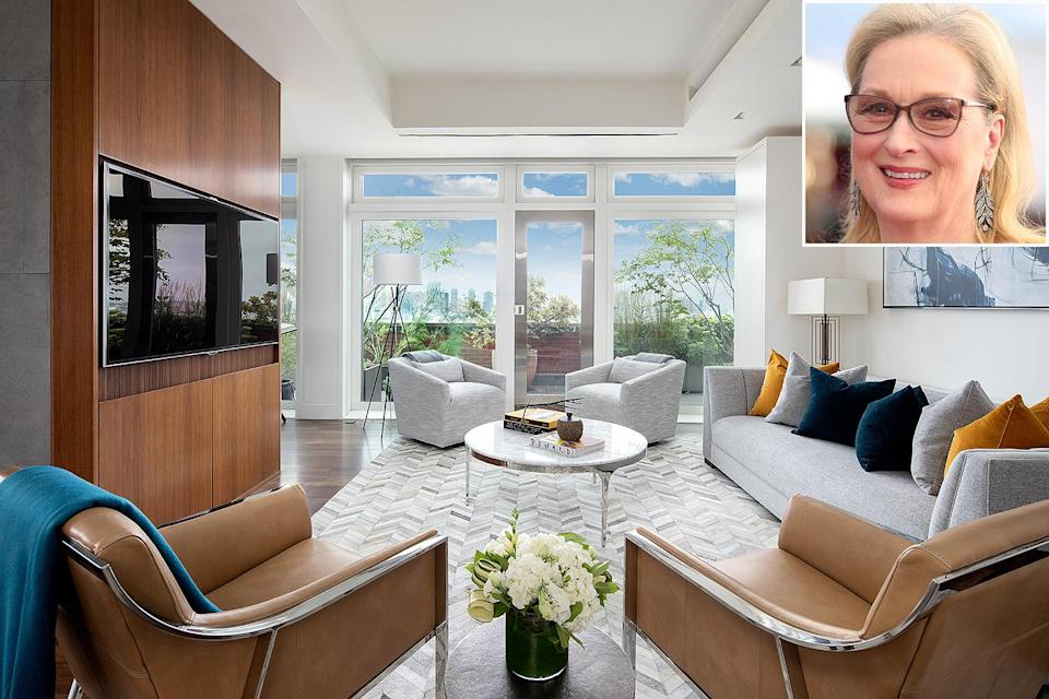 """<p>In January, the Oscar winner, 71, officially sold her <a href=""""https://people.com/home/meryl-streeps-waterfront-nyc-penthouse-sold-for-15-8-million/"""" rel=""""nofollow noopener"""" target=""""_blank"""" data-ylk=""""slk:Manhattan penthouse"""" class=""""link rapid-noclick-resp"""">Manhattan penthouse</a> after almost a year and a half on the market. The actress first listed the nearly 4,000-square-foot apartment with Douglas Elliman back in August 2018 for $24.6 million. It was eventually sold by Sotheby's International Realty for $15.8 million — almost $10 million less than the initial asking price.</p> <p>The bright four-bedroom, four-and-a-half-bath penthouse features floor-to-ceiling windows with views of the Hudson River, Statue of Liberty, and the Chrysler and Empire State Buildings.</p> <p>Streep and her husband, Don Gummer, bought the condo at River Lofts in 2006 for $10.13 million, according to <em><a href=""""https://www.businessinsider.com/meryl-streep-new-york-city-penthouse-photos-2019-8#a-study-with-a-built-in-desk-and-shelving-occupies-one-corner-of-the-apartment-8"""" rel=""""nofollow noopener"""" target=""""_blank"""" data-ylk=""""slk:Business Insider"""" class=""""link rapid-noclick-resp"""">Business Insider</a>. </em>The building has previously housed other celebrities, including Gwyneth Paltrow.</p> <p><a href=""""https://people.com/home/meryl-streeps-waterfront-nyc-penthouse-sold-for-15-8-million/"""" rel=""""nofollow noopener"""" target=""""_blank"""" data-ylk=""""slk:See more photos of Meryl Streep's home."""" class=""""link rapid-noclick-resp"""">See more photos of Meryl Streep's home.</a></p>"""