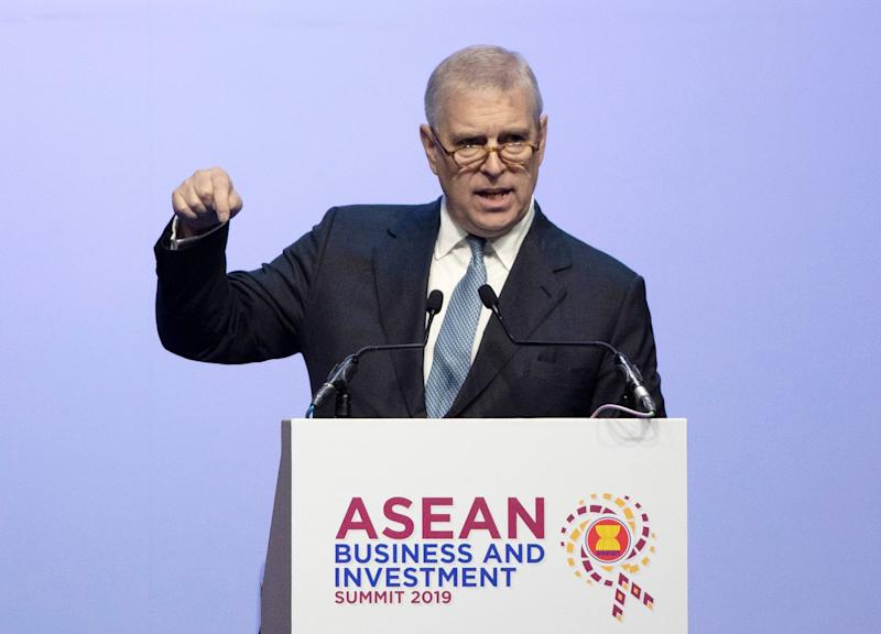Prince Andrew delivers a speech in ASEAN Business and Investment Summit in Nonthaburi, Thailand, Nov. 3, 2019.