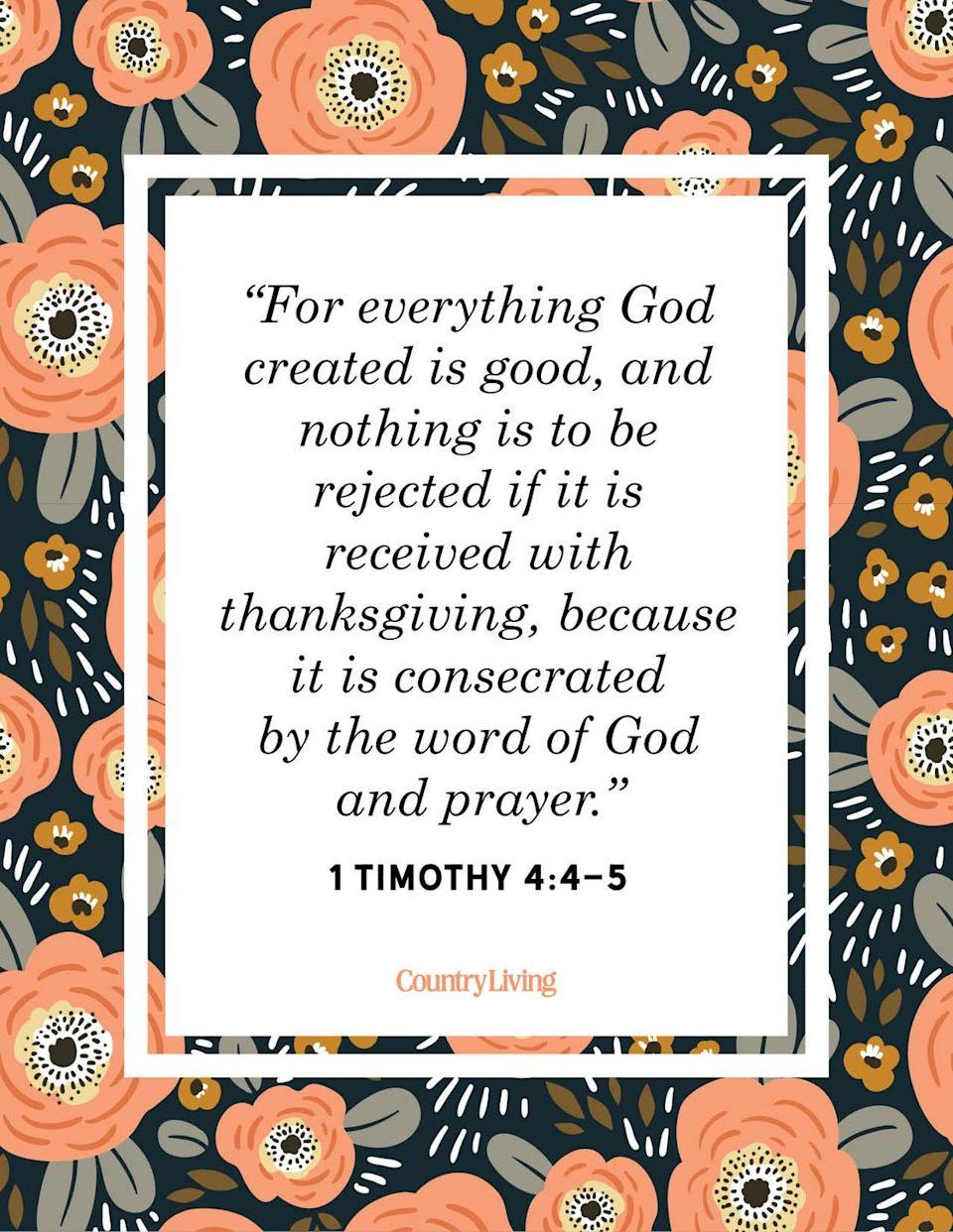"""<p>""""For everything God created is good, and nothing is to be rejected if it is received with thanksgiving, because it is consecrated by the word of God and prayer.""""<br></p>"""