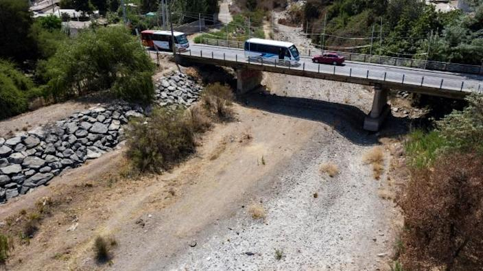 The Melon river in Chile was completely dried out in January 2020 (AFP Photo/Martin BERNETTI)