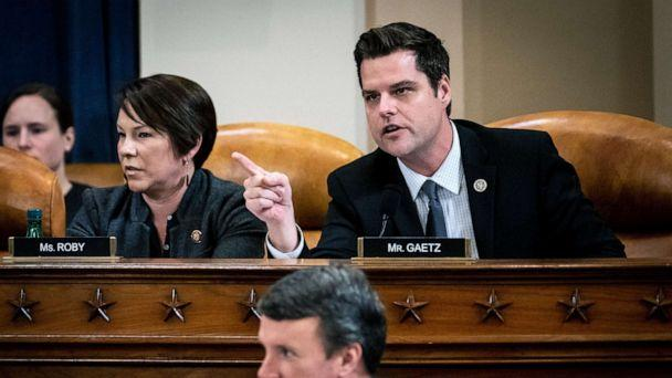 PHOTO: Rep. Matt Gaetz (R-FL) talks out of turn during testimony by Democratic and Republican counsels in an impeachment hearing before the House Judiciary Committee, Dec. 9, 2019, in Washington, D.C. (Erin Schaff/Pool/Getty Images)