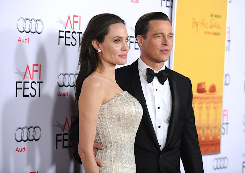 Brad Pitt and Angelina Jolie in November 2015 one year before they split in September 2016