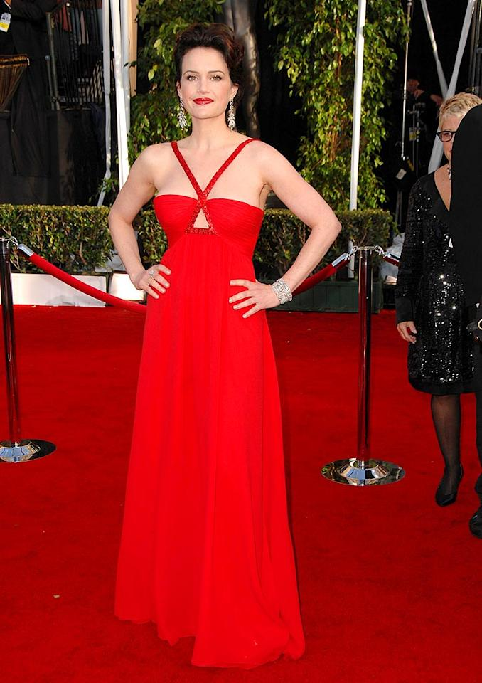 "Carla Gugino looks ravishing in red. Steve Granitz/<a href=""http://www.wireimage.com"" target=""new"">WireImage.com</a> - January 27, 2008"