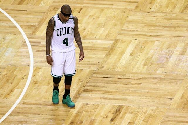 Isaiah Thomas #4 of the Boston Celtics looks on during the fourth quarter of the Celtics 106-102 loss to the Chicago Bulls during Game One of the Eastern Conference Quarterfinals at TD Garden on April 16, 2017 in Boston, Massachusetts (AFP Photo/Maddie Meyer)