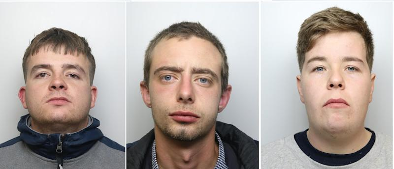 (From L-R) Jordan Metcalfe, 24, Nathan Redmond, 21, and Scott Crutchle, 24,