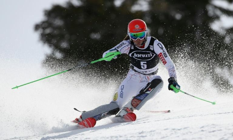 Petra Vlhova of Slovokia competes in the first run of the Audi FIS World Cup Ladies' Slalom on March 11, 2017 in Squaw Valley, California