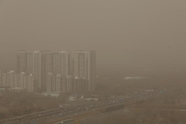 BEIJING, CHINA - FEBRUARY 28: A general view of the skyline in the sandstorm on February 28, 2013 in Beijing, China. Beijing was hit by its first sandstorm of the year while its air quality reached dangerous level on Thursday. (Photo by Feng Li/Getty Images)