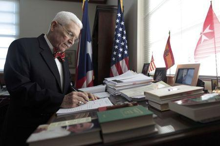 Salvador Casellas, a federal judge and a former treasury secretary of Puerto Rico, revises documents at his office during an interview with Reuters in San Juan, Puerto Rico, November 4, 2016. REUTERS/Alvin Baez