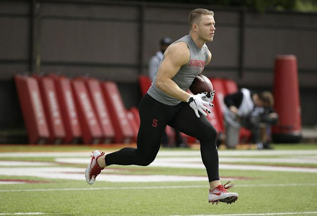 Stanford's Christian McCaffrey put on a show at his pro day and should be a high first-rounder. (AP)