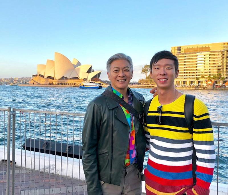 Producer Benjamin Tan with creative director Dick Lee in Sydney, May 2018, where they attended the Vivid Sydney festival to get ideas for National Day Parade 2019.