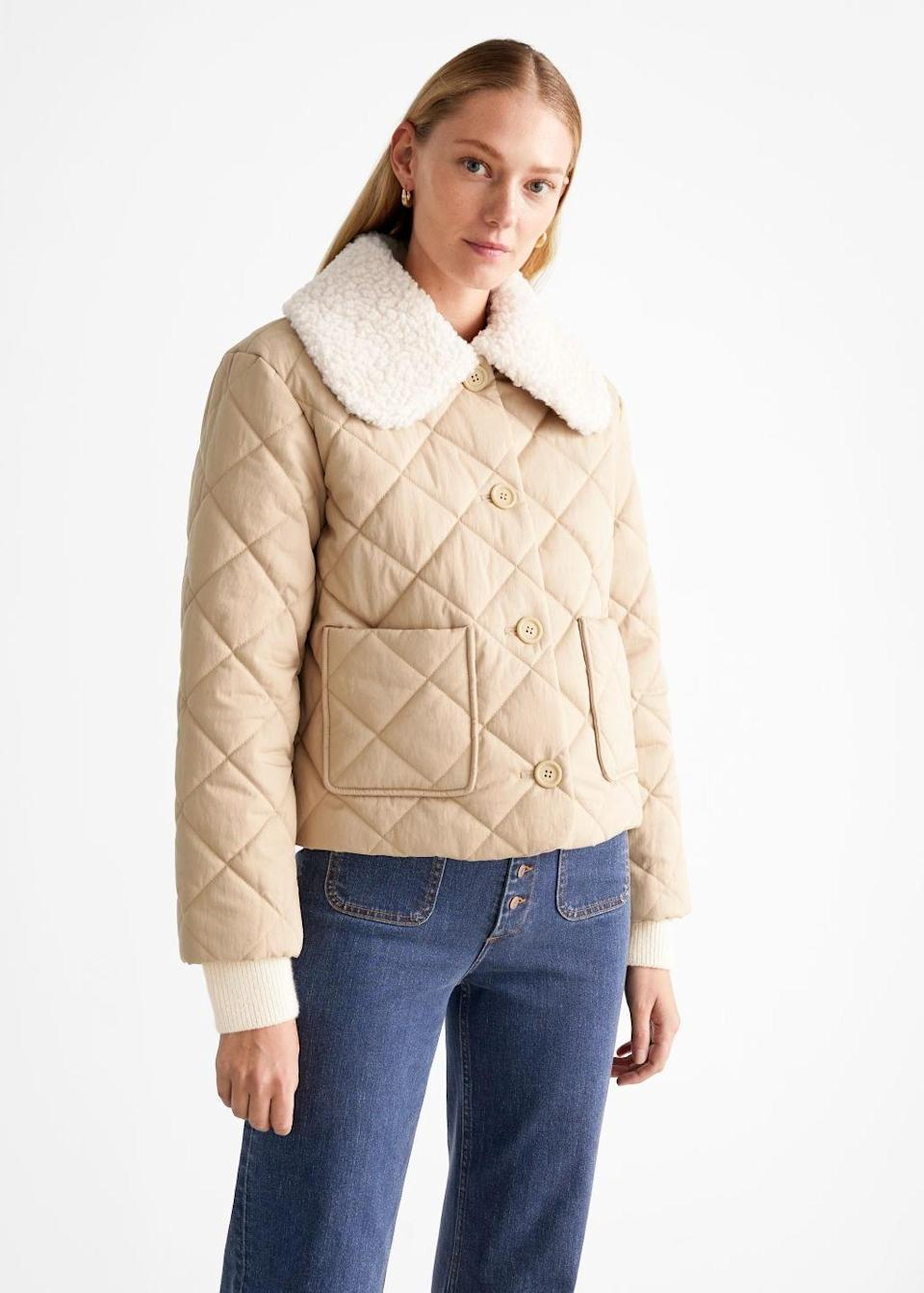 """This is the kind of cold-weather jacket you want on hand when it's too chilly to step out in just a sweater—but too warm to bust out the <a href=""""https://www.glamour.com/gallery/best-down-jackets?mbid=synd_yahoo_rss"""" rel=""""nofollow noopener"""" target=""""_blank"""" data-ylk=""""slk:down options"""" class=""""link rapid-noclick-resp"""">down options</a>. $149, & Other Stories. <a href=""""https://www.stories.com/en_usd/clothing/jackets-coats/jackets/product.quilted-removable-collar-jacket-beige.1020598001.html"""" rel=""""nofollow noopener"""" target=""""_blank"""" data-ylk=""""slk:Get it now!"""" class=""""link rapid-noclick-resp"""">Get it now!</a>"""